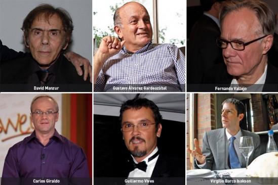 David Manzur , Carlos Giraldo , Gustavo Álvarez Gardeazábal , Guillermo Vives , Fernando Vallejo , Virgilio Barco Isakson
