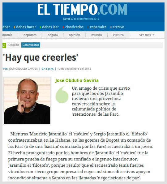 Columna José Obdulio Gaviria, periódico El Tiempo
