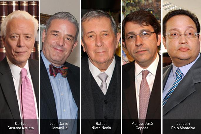 Carlos Gustavo Arrieta, Juan Daniel Jaramillo, Rafael Nieto Navia, Manuel José Cepeda y Joaquín Polo Montalvo
