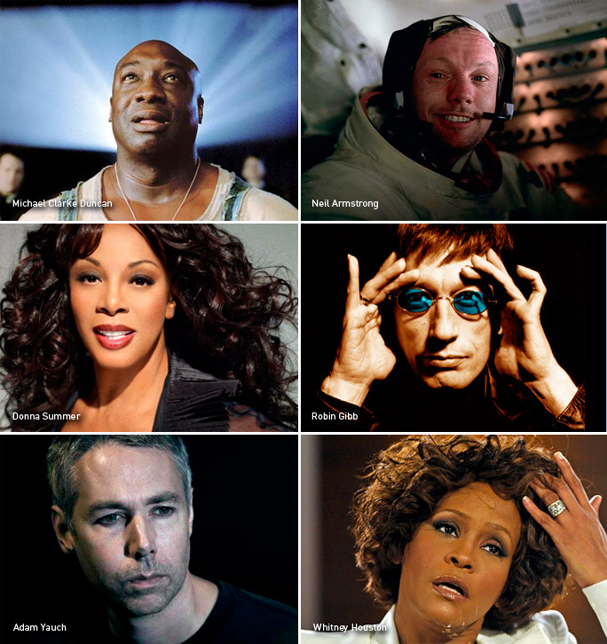 Michael Clarke Duncan, Neil Armstrong, Donna Summer, Robin Gibb, Adam Yauch, Whitney Houston