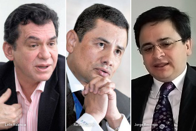 León Valencia, Rafael Guarín y Jorge Restrepo