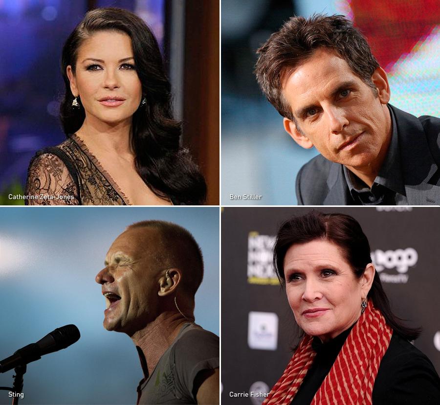 Catherine Zeta-Jones, Ben Stiller, Sting, Carrie Fisher, Bipolares, Celebridades, Kienyke