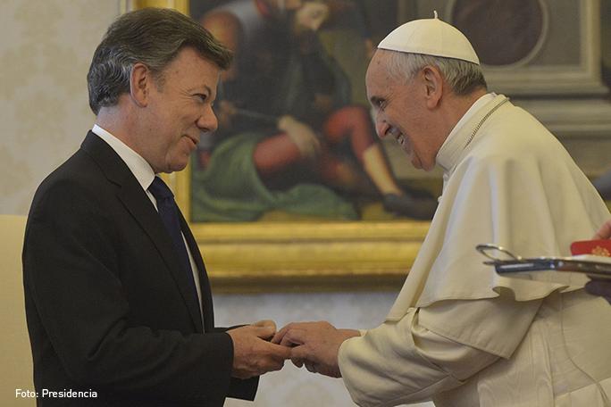 Juan Manuel Santos y el Papa Francisco, Kienyke