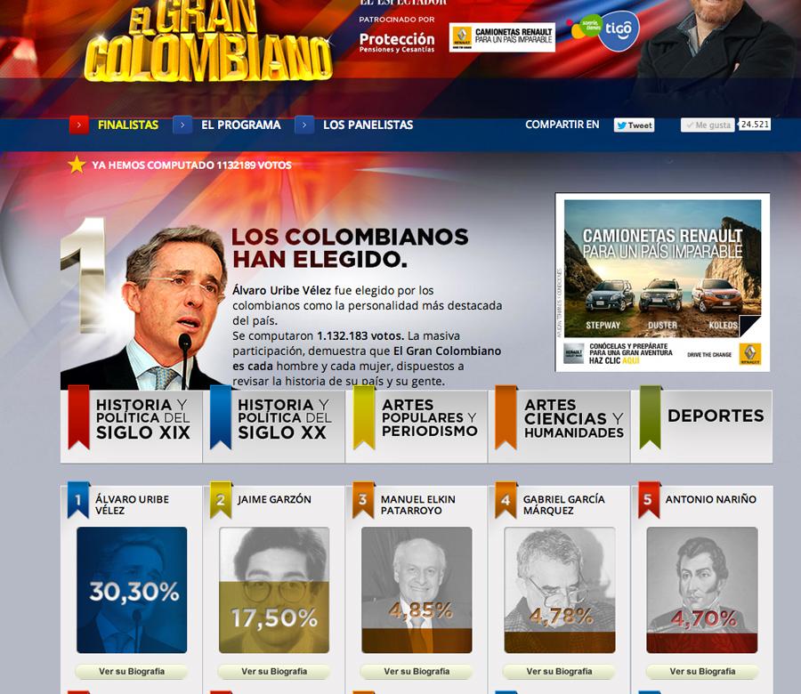 El Gran Colombiano, Álvaro Uribe, Kienyke