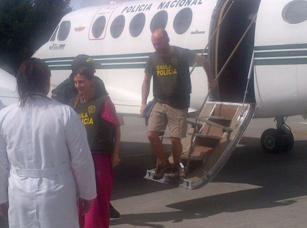 Arribaron a Bogotá los dos españoles liberados