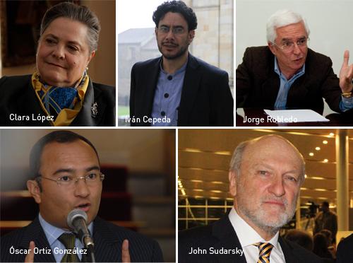 Clara López, Iván Cepeda, Jorge Robledo, Óscar Ortiz, John Sudarsky