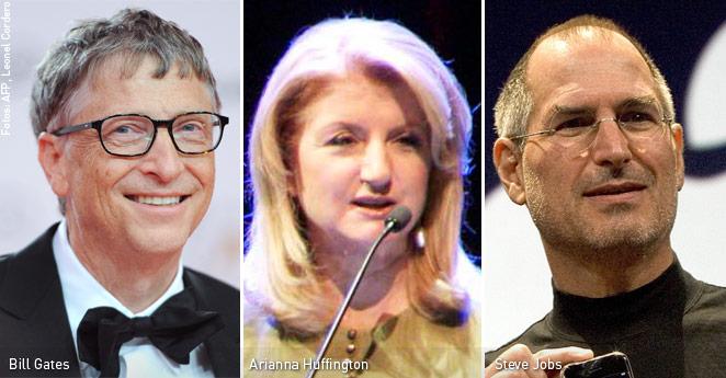 Fracasos empresarios, Bill Gates, Arianna Huffington, Steve Jobs