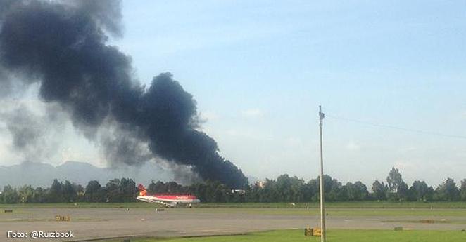 Registran incendio cerca al Aeropuerto El Dorado