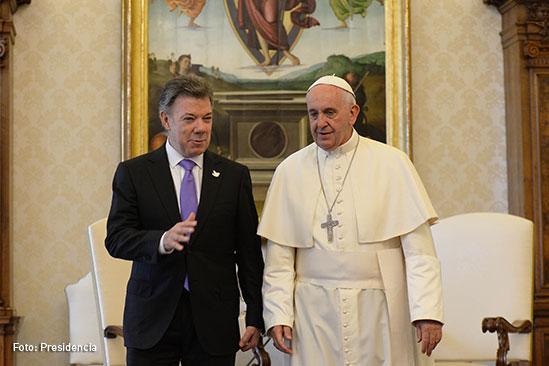 Presidente Juan Manuel Santos y El Papa Francisco