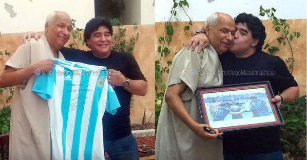 Maradona visitó al árbitro que no vio la mano de Dios