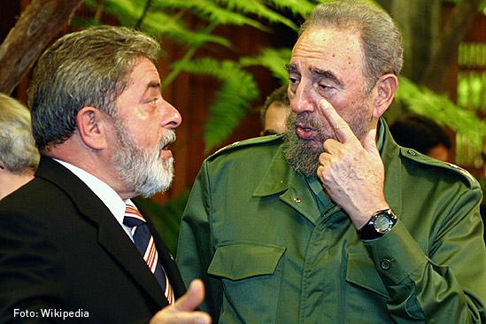 Luiz Inacio Lula y Fidel Castro