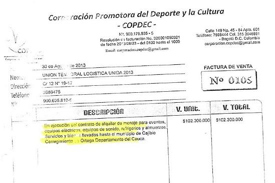 Factura Ortega Cauca