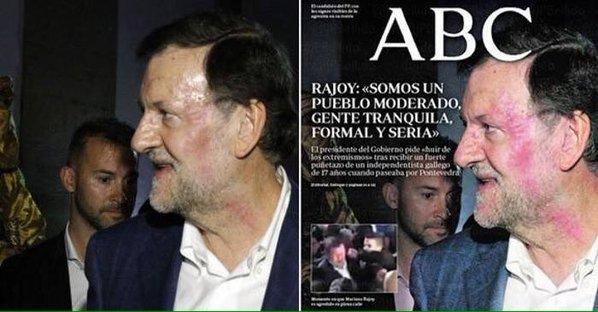¿Photoshop a Rajoy tras el puñetazo en la cara?