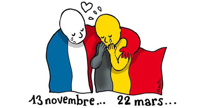 Tin Tin y el Niño Orinando, símbolos contra el terror en Bruselas