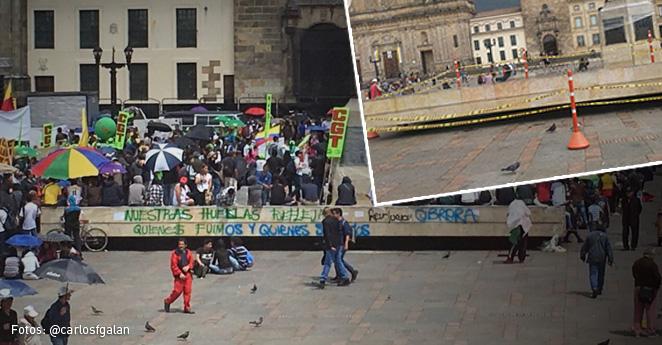 Manchas y disturbios en la Plaza de Bolívar