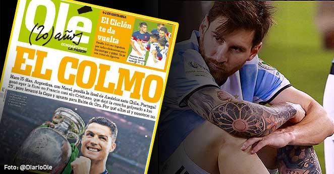 Messi, Cristiano Ronaldo, critica diario argentino, messi llorando, duras criticas seleccion argentina,