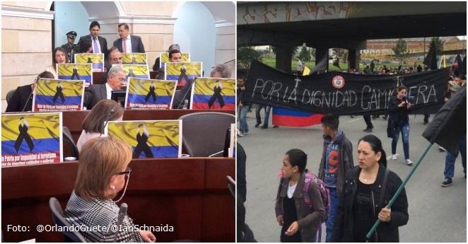 """Cuestionan """"coincidencia"""" de banderas negras en protestas y en el Congreso"""