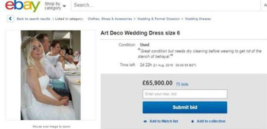 Mujer subasto su vestido para pagar su divorcio