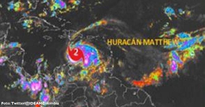 Alerta roja en el caribe colombiano por paso del huracán Matthew