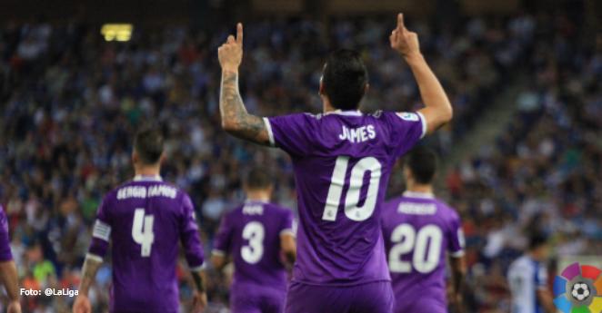 (Video) James Rodríguez dio asistencia en empate del Real Madrid