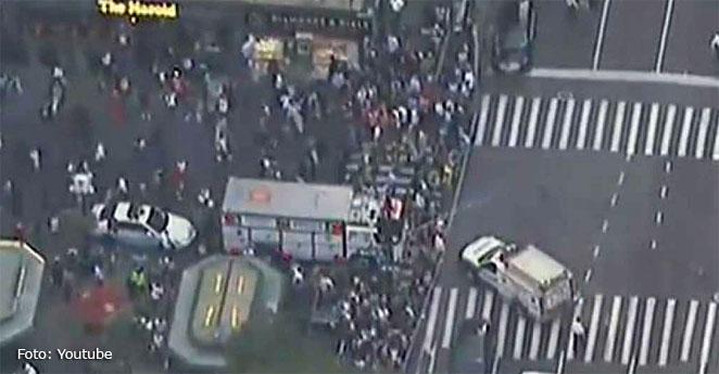 Despliegue de policías en el centro de Manhattan por un tiroteo