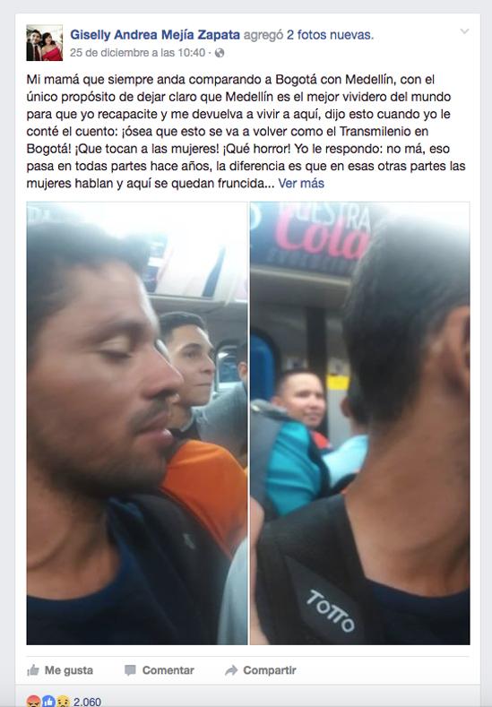 Mujer acosada en el metro de medellin
