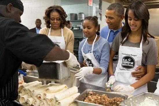 Barack Obama con la familia