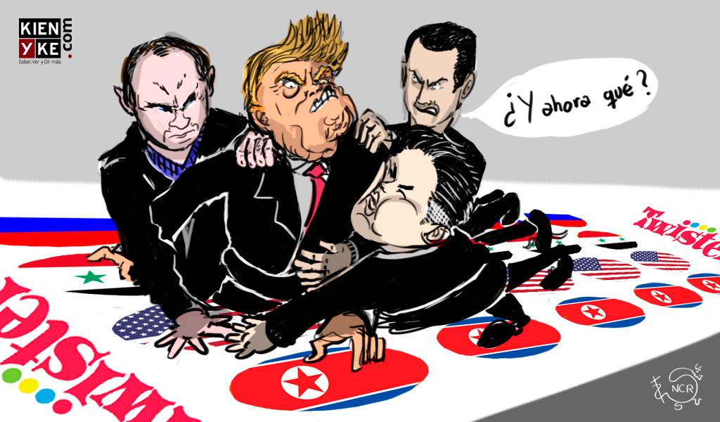 caricatura tension usa corea del norte rusia siria guerra fria
