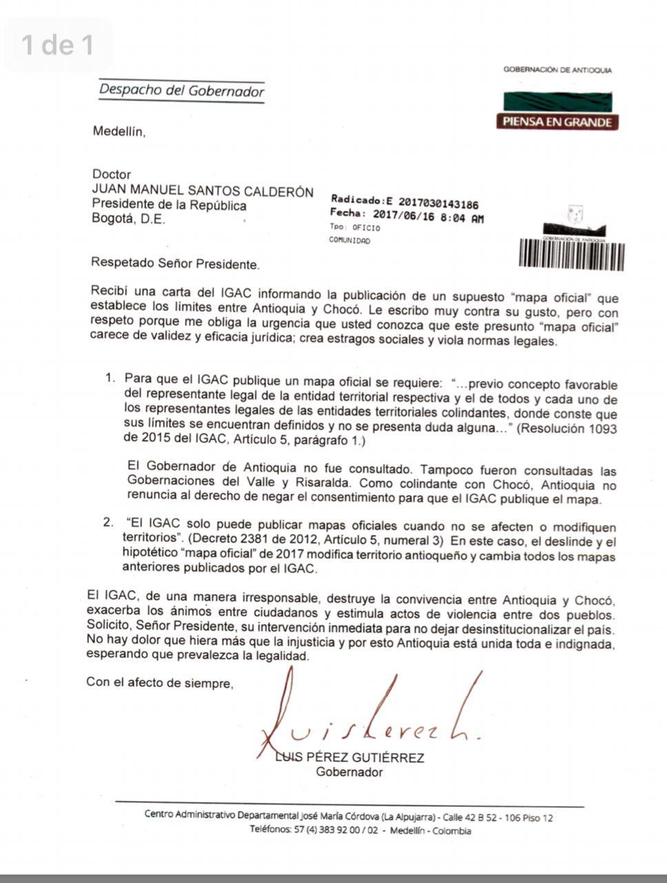 Carta Belén de Bajirá - Santos