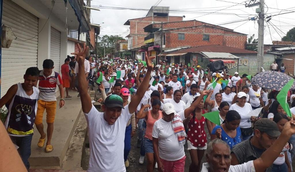 Habitantes de Belén de Bajirá marcharon a favor de Antioquia