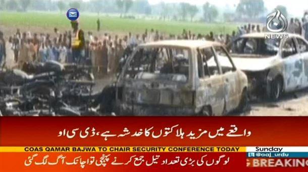 Infierno tras accidente de camión cisterna en Pakistán