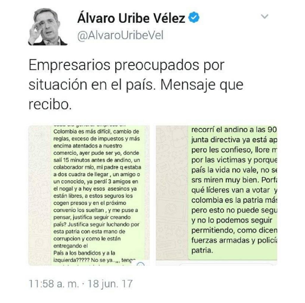 Captura de Uribe mensaje empresarios
