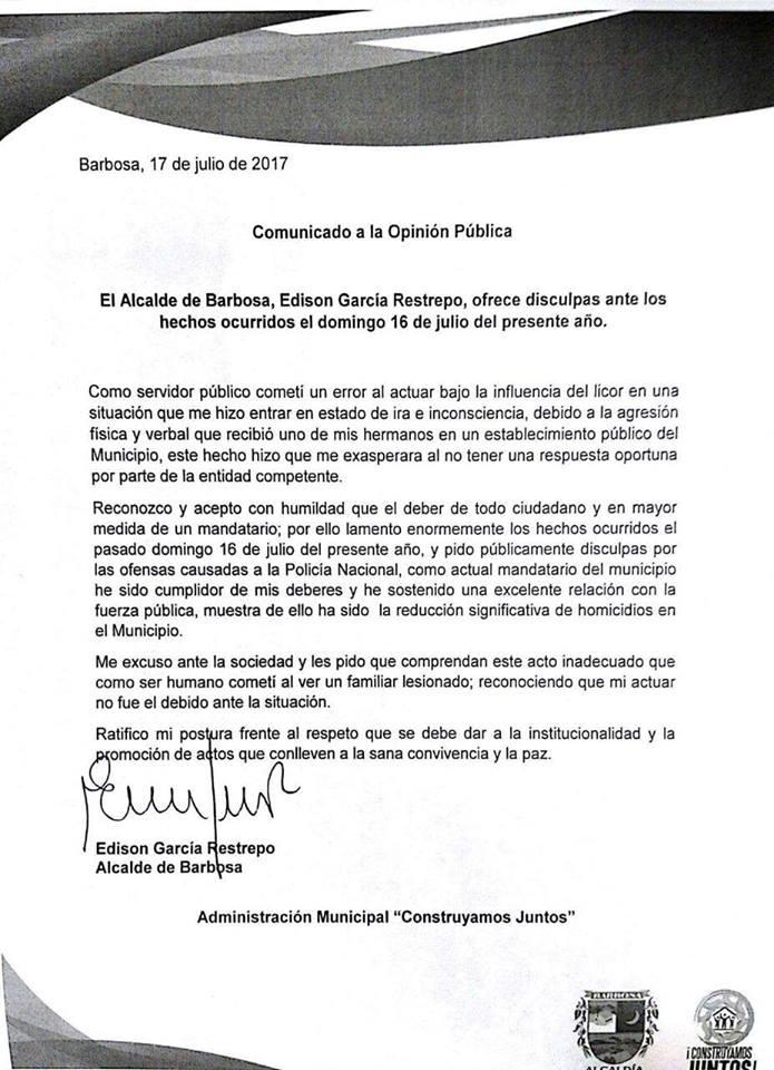 Comunicado Alcalde de Barbosa