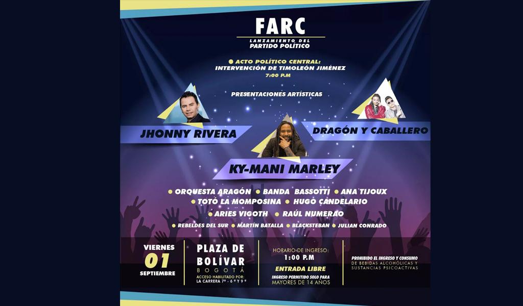 Se le negó permiso a las Farc para realizar concierto en Bogotá