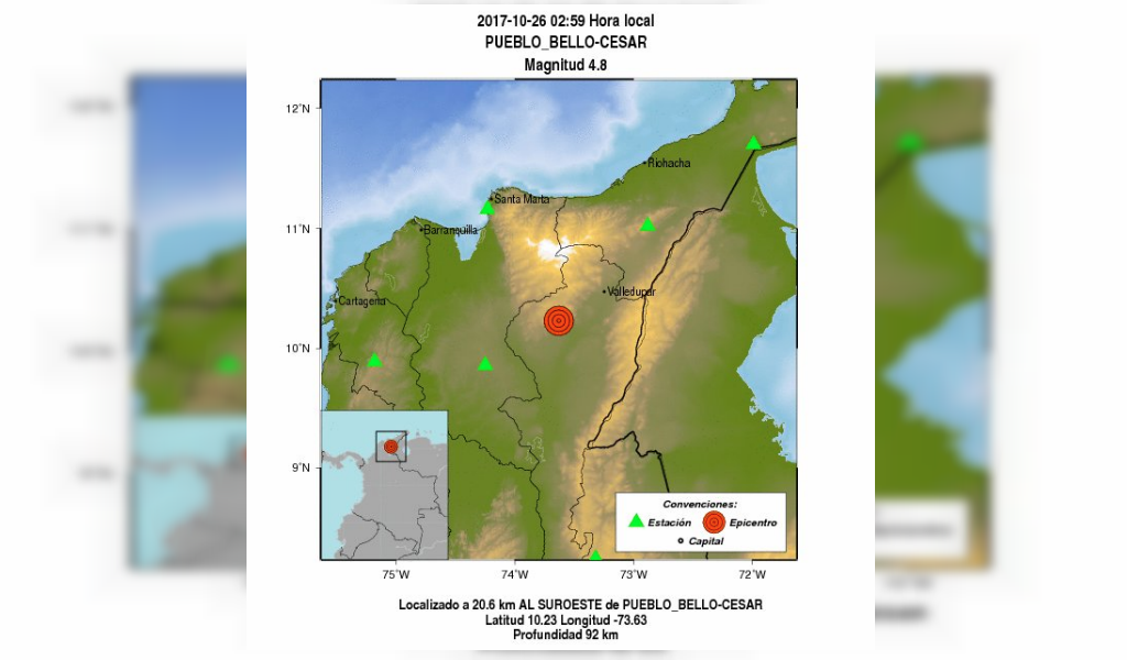 Sismo de 4.8 grados en la Costa Caribe
