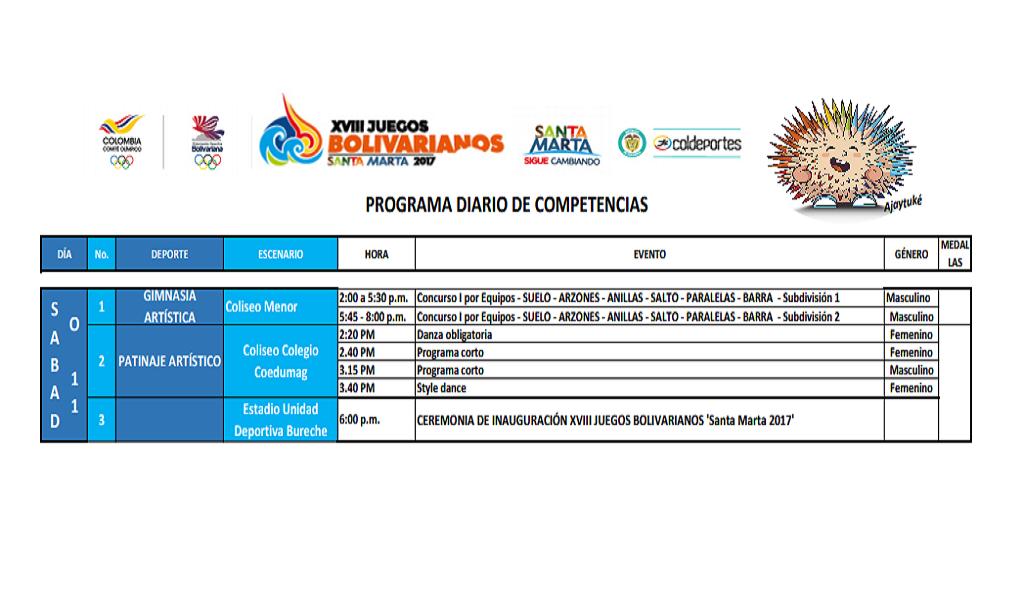 Calendario sábado Juegos Bolivarianos