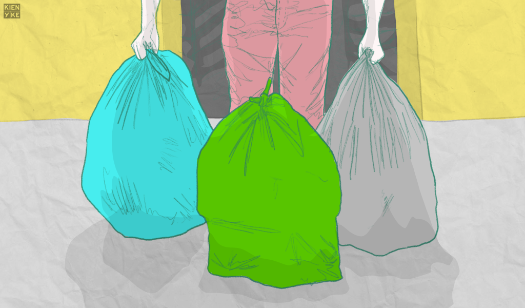 Bolsas de colores para hacer mercado