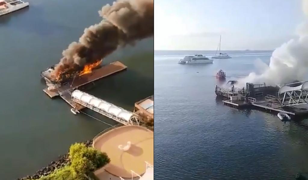 Impresionante incendio de barco deja un herido