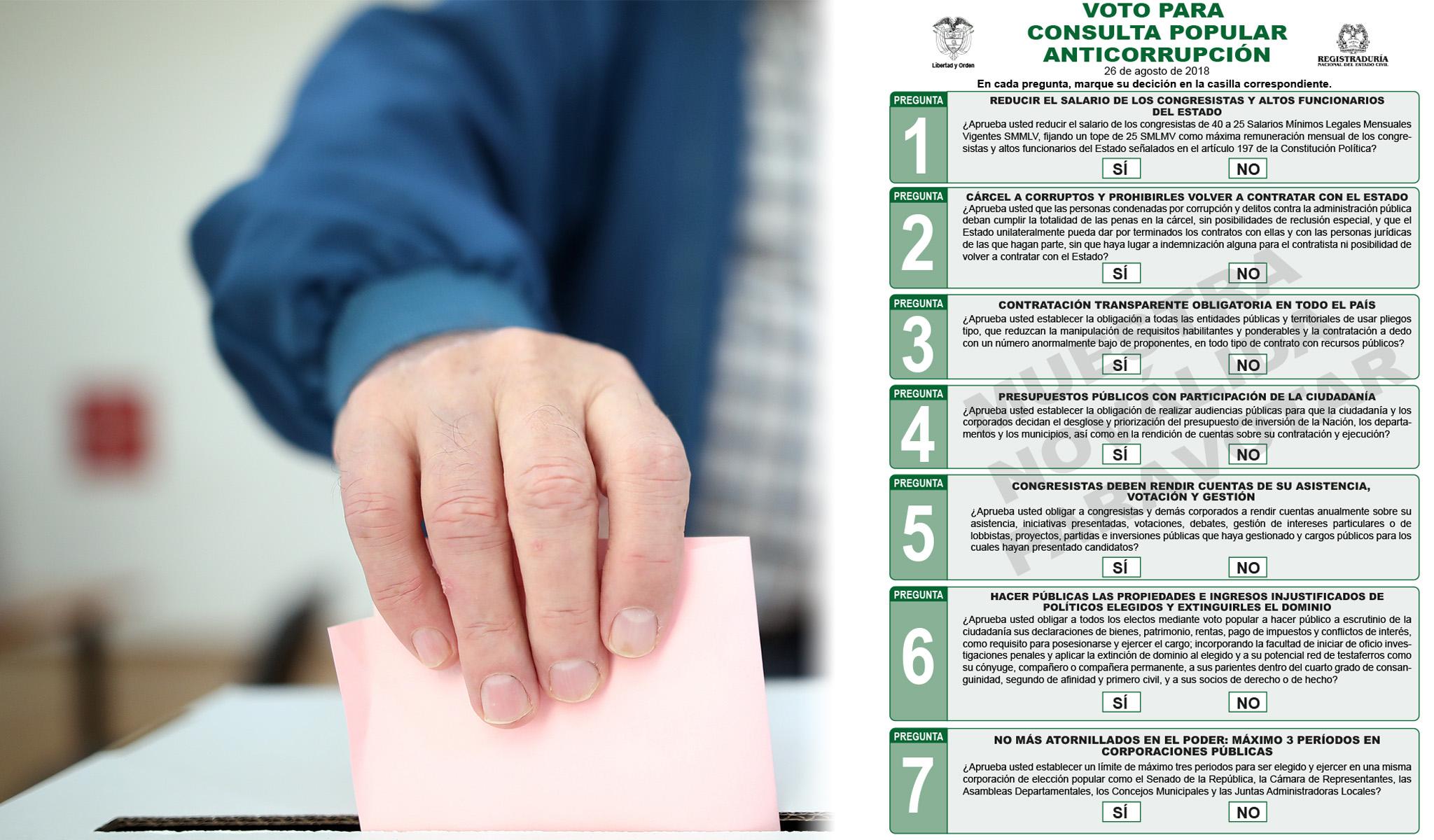 Cifra oficial de la votación de la Consulta Anticorrupción