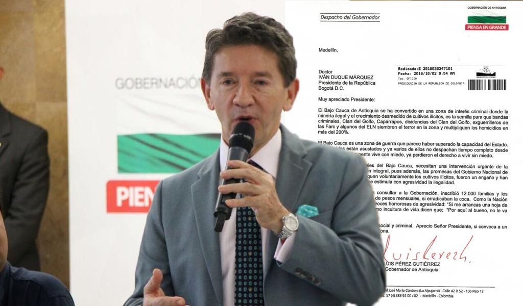 Con carta a Duque, Luis Pérez pide intervenir el Bajo Cauca