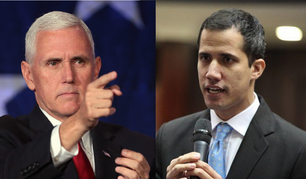 Guaidó y Mike Pence