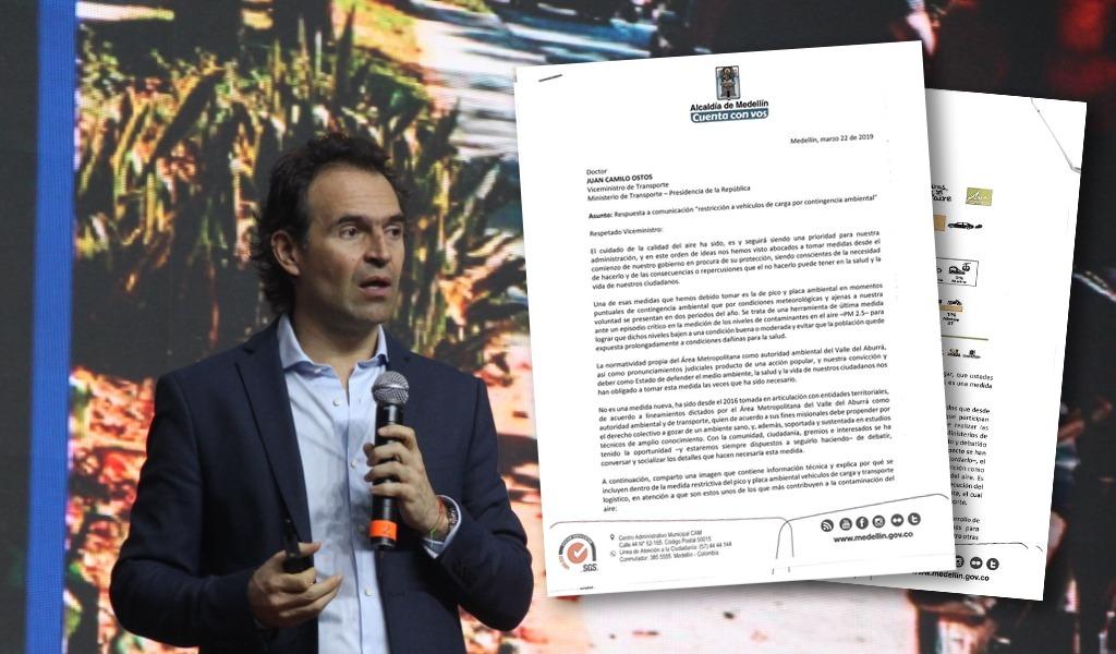 Con carta alcalde defiende pico y placa en Medellín