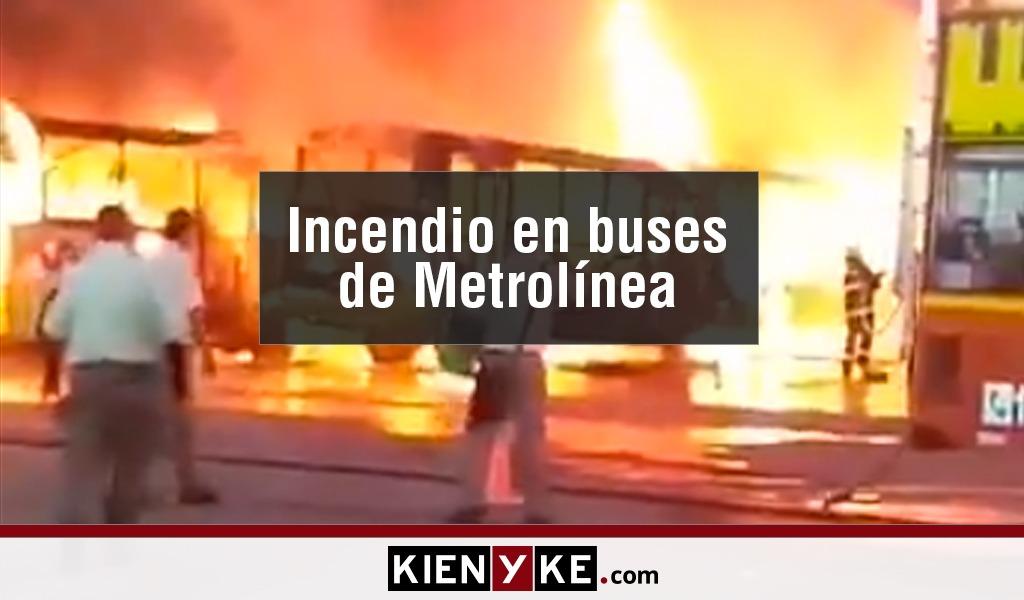 Incendio consumió buses del Metrolínea en Floridablanca