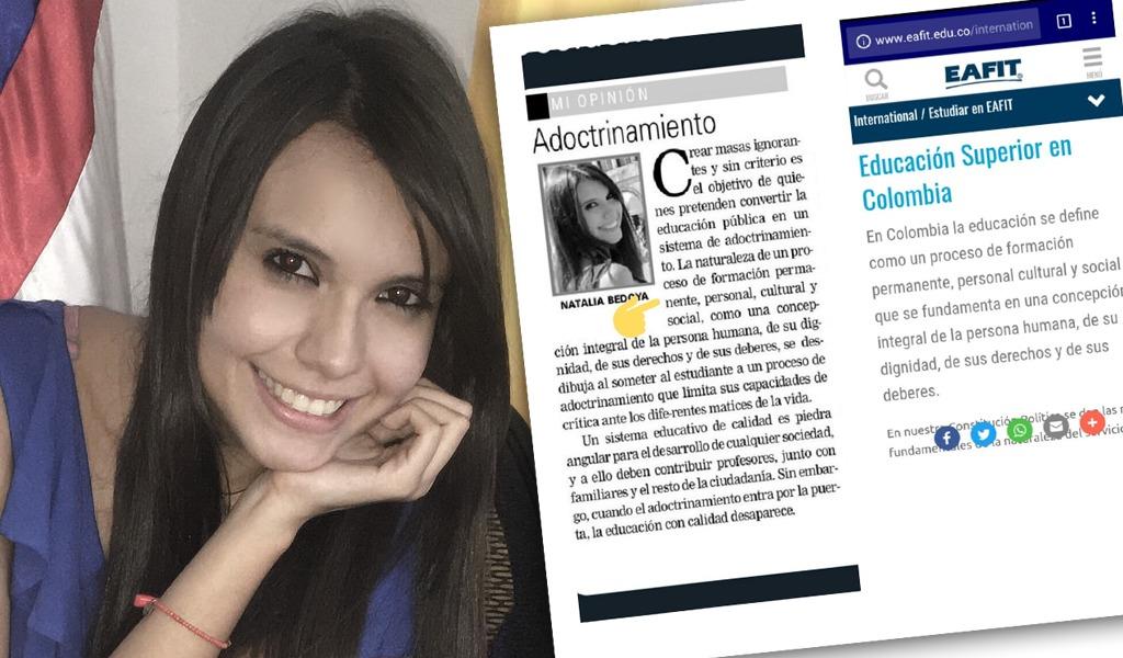 Natalia Bedoya responde por acusación de plagio en columna