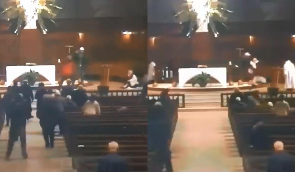 Apuñalan a sacerdote en plena misa