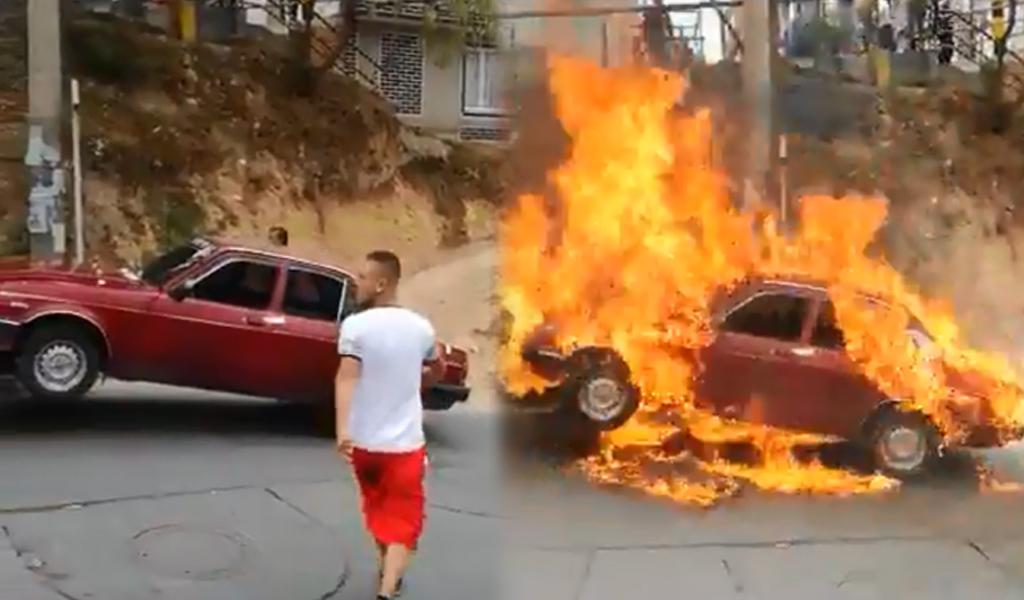 Incendian carro para que no se lo lleve la grúa
