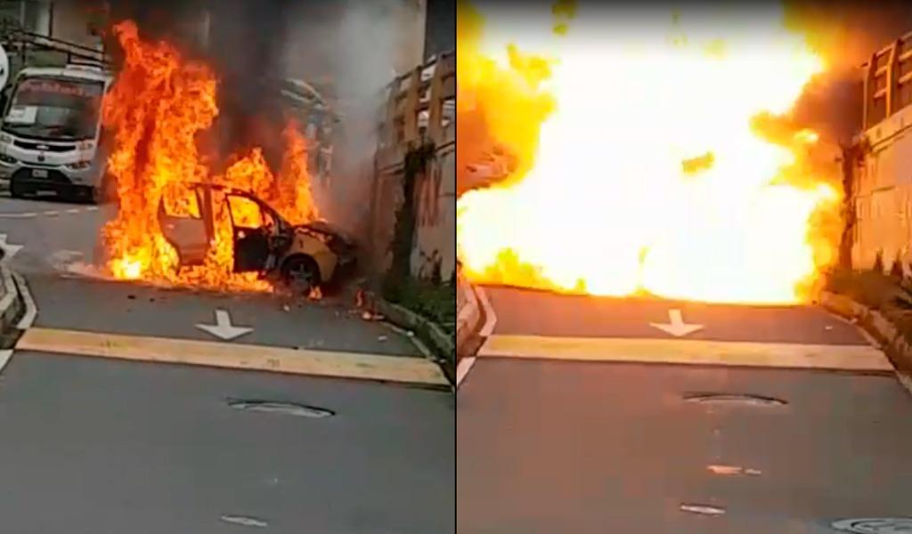 Se quema un taxi en El Poblado de Medellín - kienyke.com