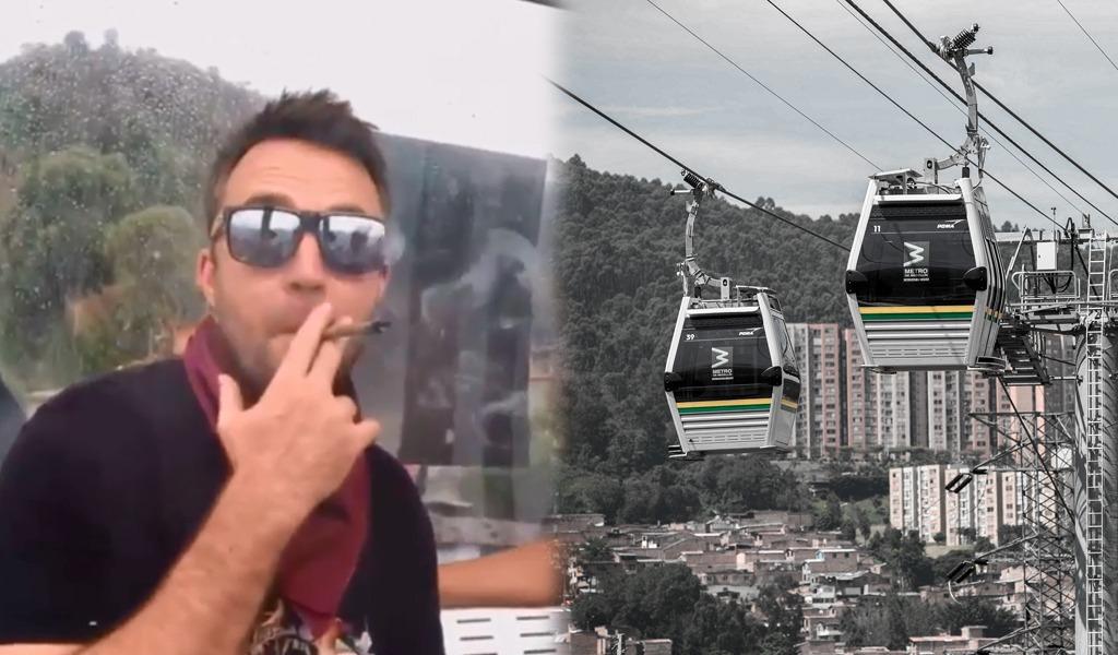 Extranjero fuma marihuana en el Metrocable de Medellín