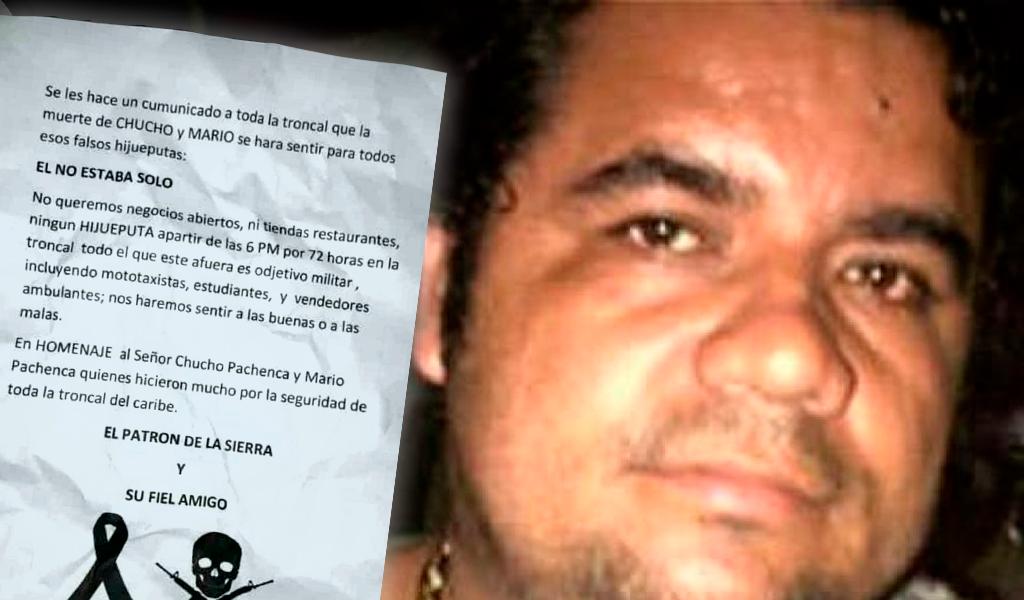 Amenaza de paro armado por muerte de 'Chucho Mercancía'