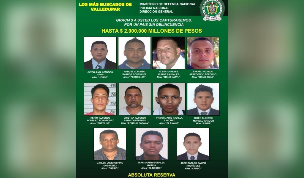 Los delincuentes más buscados de Valledupar